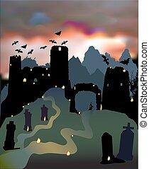 effrayant, cimetière, halloween, sombre, dramatique, chauves-souris, paysage, château, ruines, portail, ciel