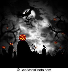 effrayant, cimetière, sombre, incandescent, potirons, forêt