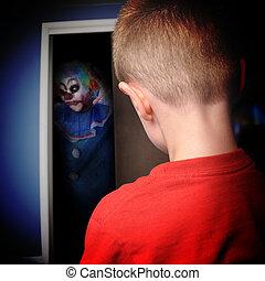 effrayant, clown, monstre, placard, garçons