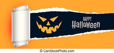 effrayant, déchiré, halloween, effet, papier, fond, heureux