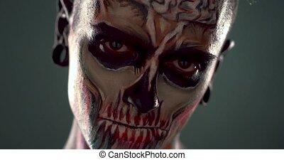effrayant, face., homme, squelette, jeune