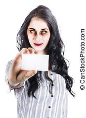 effrayant, femme, zombi, remise, carte affaires