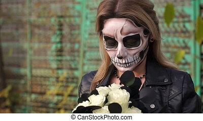effrayant, formulaire, skull., halloween, maquillage, portrait, girl