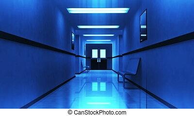 effrayant, hôpital, 3, couloir