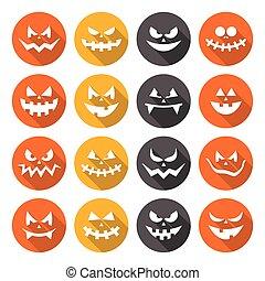 effrayant, halloween, citrouille, conception, plat