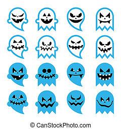 effrayant, halloween, fantôme, esprit, icônes