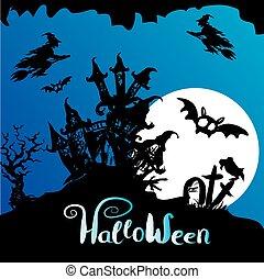 effrayant, -, halloween, fond, maison