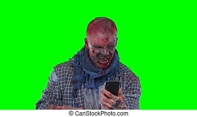 effrayant, halloween, isolé, zombi, arrière-plan vert