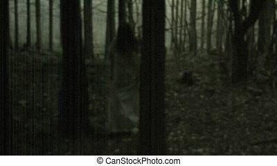 effrayant, horreur, femme, scène