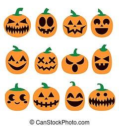 effrayant, icônes, ensemble, horreur, halloween, décoration, vecteur, conception, faces, citrouille