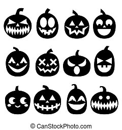 effrayant, icônes, ensemble, horreur, halloween, décoration, vecteur, conception, fond, faces, noir, blanc, citrouille