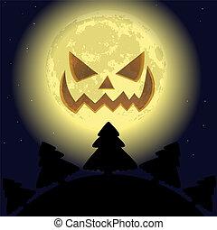 effrayant, lune souriante