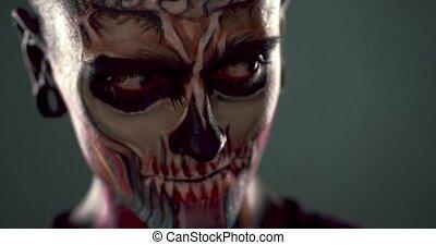 effrayant, métrage, homme, squelette, face.