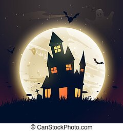 effrayant, maison, halloween, lune, hanté, devant