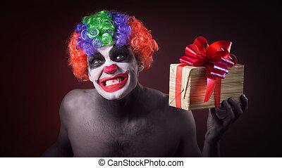 effrayant, maquillage, clown, terrible, cadeau