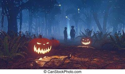 effrayant, perdu, halloween, 4k, nuit, enfants, forêt
