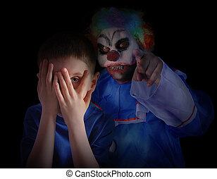effrayant, peu, clown, sombre, enfant, regarder