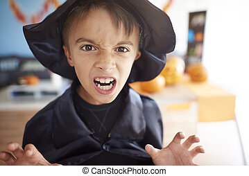 effrayant, peu, magicien, halloween