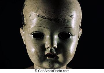 effrayant, poupée, figure