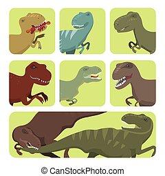 effrayant, préhistorique, force, jurassique, danger, prédateur, illustration, t-rex, cartes, dinosaures, vecteur, sauvage, éteint, tyrannosaurus, créature