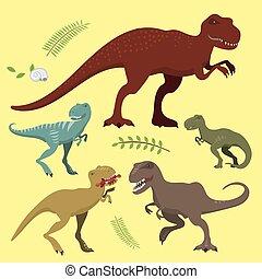 effrayant, préhistorique, force, jurassique, danger, prédateur, illustration, t-rex, tyrannosaurus, dinosaures, vecteur, sauvage, créature éteinte