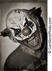 effrayant, sépia, mal, clown, toning