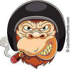 effrayant, singe, casque, coureur, porter
