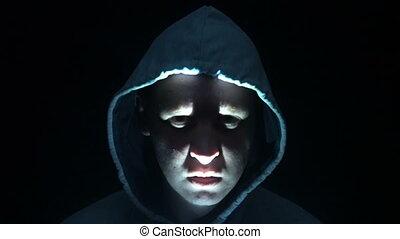 effrayant, spirituel, diable, beaucoup, face., scène, mal, exorcism, horreur, faces., homme