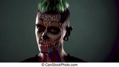 effrayant, squelette, face., fin, homme, vue