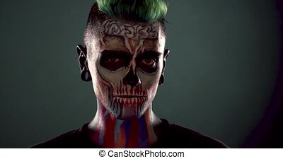effrayant, studio., squelette, face homme