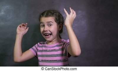 effroi, mouvement, peur, girl, surprise, yeux, adolescent, grand, lent, studio, terreur