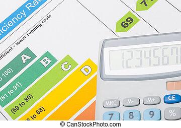 eficiência, energia, mapa, calculadora