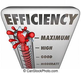 eficiência, termômetro, medindo, eficaz, produtividade, nível