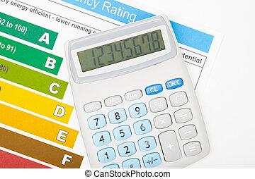 eficiencia, calculadora, encima, energía, gráfico
