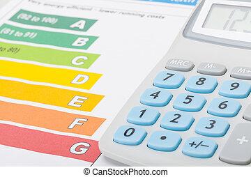 eficiencia, calculadora, energía, gráfico