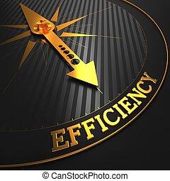 eficiencia, en, negro y, dorado, compass.