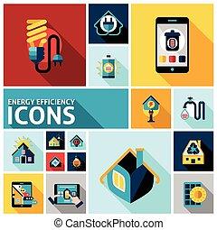 eficiencia, energía, conjunto, iconos