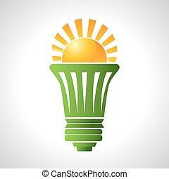 eficiente, bombilla, energía, solar