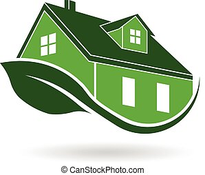 eficiente, casa, verde, rodear, logotipo