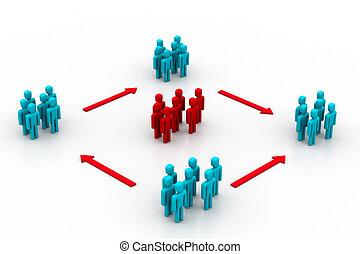 eficiente, comunicação, rede