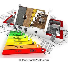 eficiente, energía, construcción