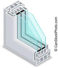 eficiente, energía, cruz, ilustración, ventana, vector, sección