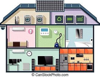 eficiente, energía, cutaway, casa