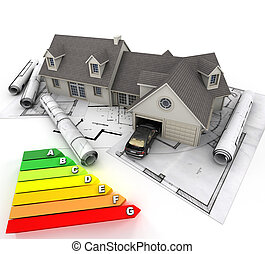 eficiente, lar, energia, construção
