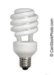 eficiente, luz, energía, aislado, bombilla, blanco