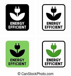 eficiente, símbolo, eco, poder, energia