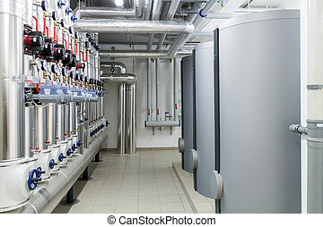 eficiente, system., moderno, calefacción