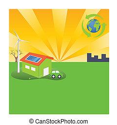 eficiente, verde, energía, estilo de vida