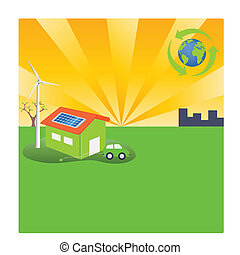 eficiente, verde, energia, estilo vida