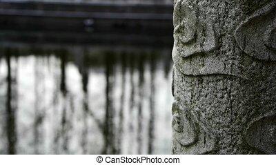 eflection, forêt, eau, pont